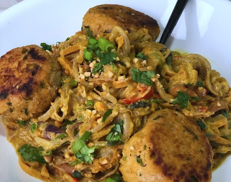 Veggie Noodles with Coconut Curry Peanut Sauce & Asian Meatballs