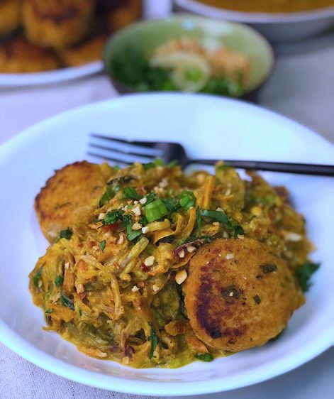 Stir Fry Asian Veggie Noodles with Coconut Curry Peanut Sauce & Asian Meatballs. A low carb and easy dinner with authentic Thai and Asian flavors.