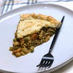 homemade chicken pot pie with pumpkin rosemary pie crust