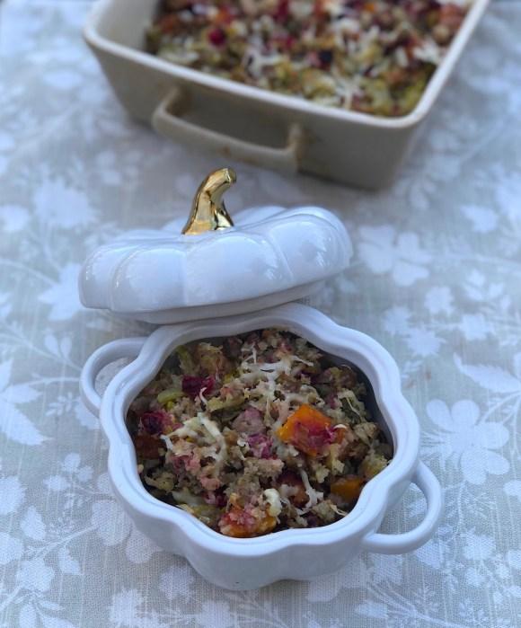 sausage and cranberry cauliflower stuffing casserole