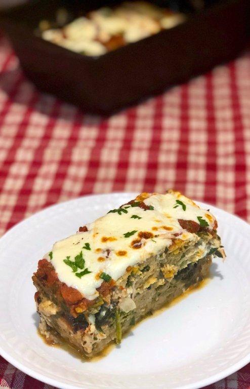 Healthy Italian Spinach & Mozzarella Stuffed Meatloaf with marinara