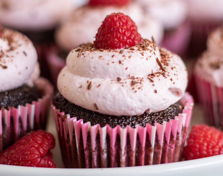 Dark Chocolate & Red Wine Filled Cupcakes with Raspberry Whipped Cream
