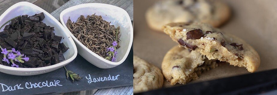 Two small white bowls, one filled with dried lavender buds and one filled with dark chocolate chunks. A fresh purple lavender flower is resting in the background. Next to that picture is a cookie broken in half, it's gooey on the inside with chocolate chunks and lavender