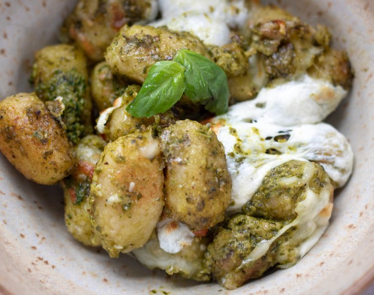 Creamy Pesto Cauliflower Gnocchi Bake
