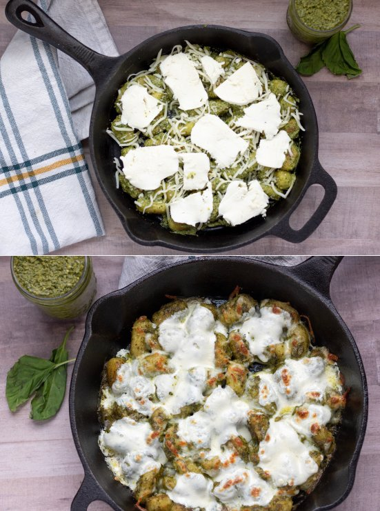 A cast iron pan of pesto cauliflower gnocchi bake with fresh mozzarella cheese. Top picture is before baking and bottom is after baking with melted cheese