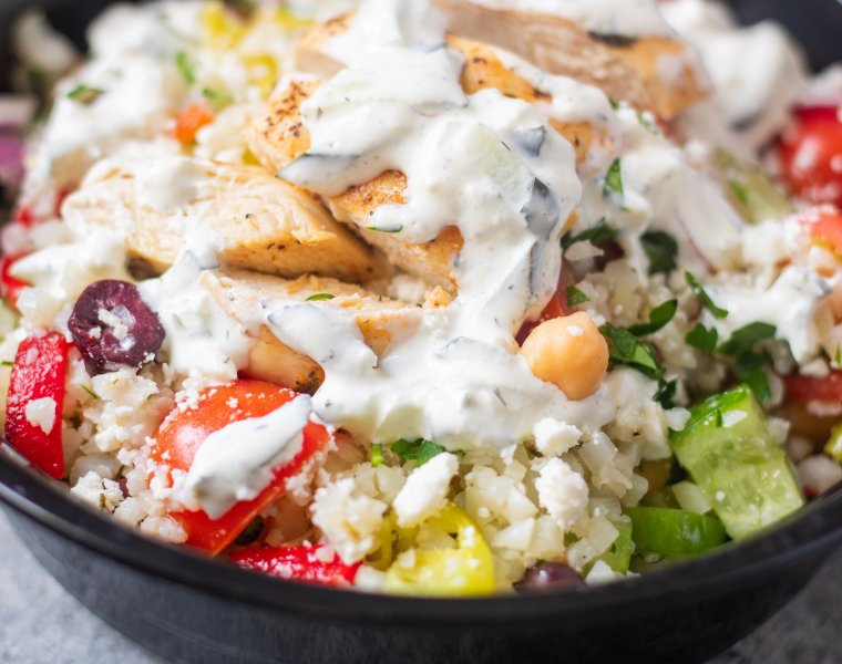 Greek Chicken Cauliflower Rice Bowls