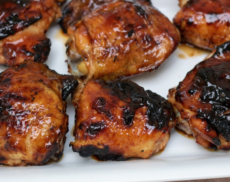 Grilled Apricot-Bourbon BBQ Chicken Thighs