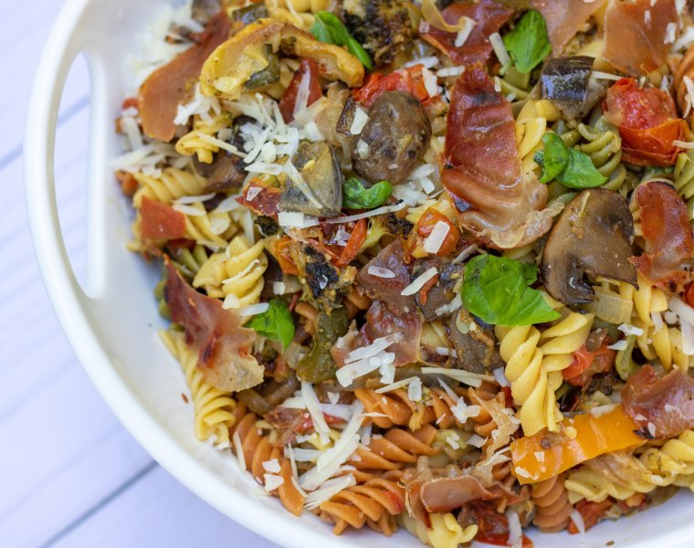 Grilled Summer Vegetable Pasta with Crispy Prosciutto