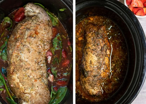 a side by side picture; one of pork tenderloin that's in a crockpot with fresh spinach and strawberries. It's been rubbed with herbs and drizzled with honey balsamic. The other picture is the pork tenderloin after it's been cooked in the crockpot. It's nice and golden brown and the spinach has wilted.