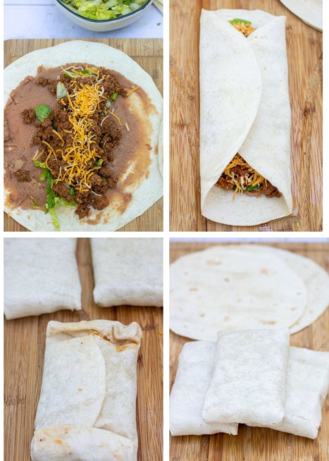 Four pictures that show how to wrap chimichangas made with soft flour tortillas.