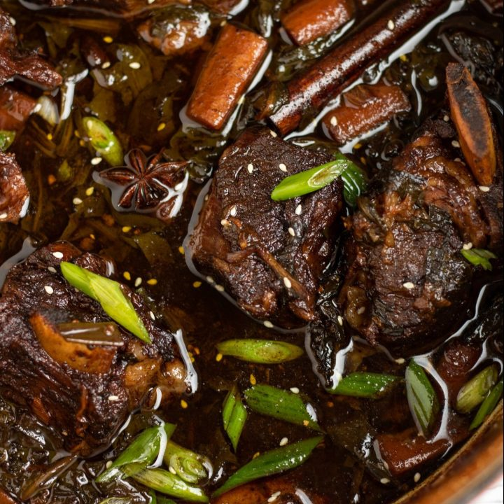 A dutch oven filled with braised asian short ribs. The sauce is dark brown with carrots and bright green scallions. There's sesame seeds sprinkled over the top