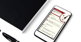 flashcard sur écran mobile