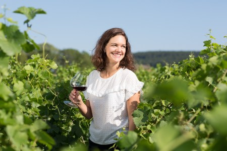 Vanessa Guebels, founder of Weeno, in the vines