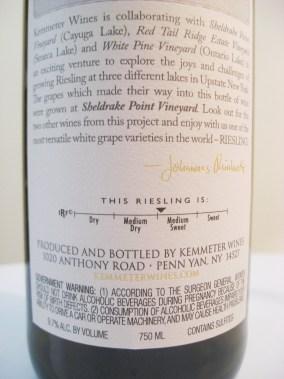 Kemmeter Wines, Riesling 2014, Sheldrake Point Vineyard, Finger Lakes, New York
