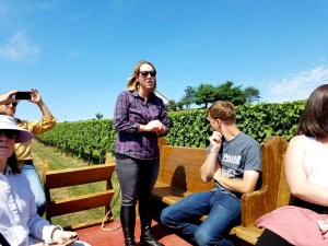 Erin Troxell leads tour of Galen Glen Winery's vineyard.