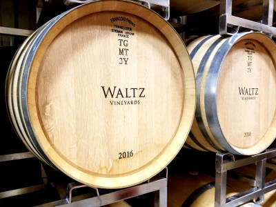 Barrels used for aging wines at Waltz Vineyards.  Wine Casual.