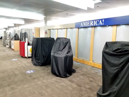 Closed store booths in Newark International Airport during COVID-19 pandemic.