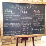 Chalkboard of wines available at Hawk Haven Vineyard in New Jersey. Wine Casual
