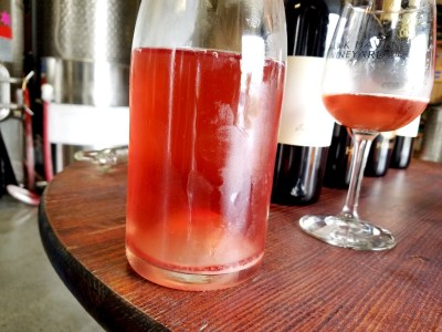 Vibrant color of Hawk Haven Vineyard's Pinot Noir Pet-Nat 2020 that is destined to be an early sell out.  Wine Casual