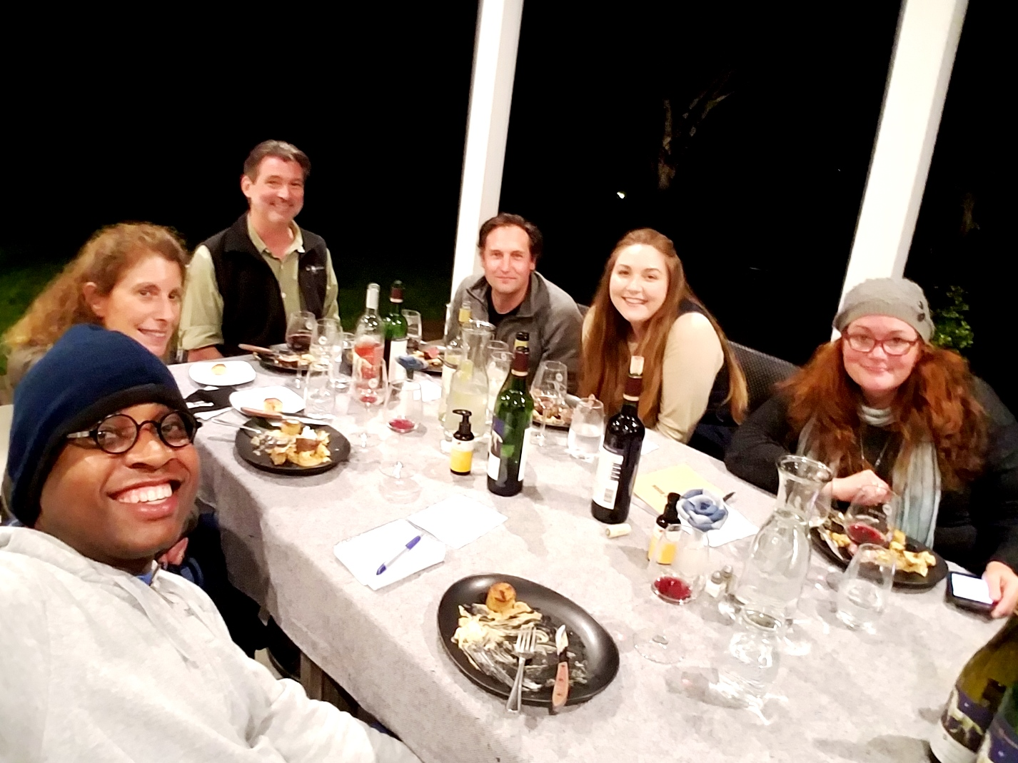 """Dinner with White Horse Winery owner Brock J. Vinton II (aka """"BJ"""") on the backporch of the White Horse Winery Farmhouse. Wine Casual"""