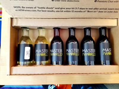 How the wines look when you open the Master the World wine kit sampler.  Wine Casual