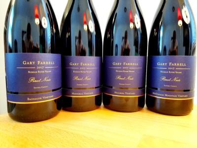 Four single-vineyard 2017 pinot noirs from Gary Farrell Vineyard & Winery's Bacigalupi, Martaella, Hallberg and McDonald Mountain vineyards.  Wine Casual