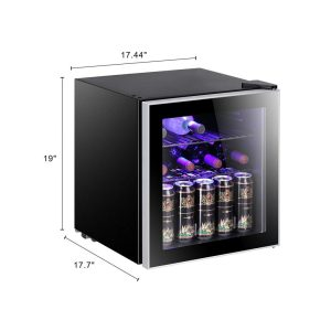 Antarctic Star 17 Bottle Wine Cooler-Cabinet Refigerator Small Wine Cellar Beer Counter Top Bar Fridge Quiet Operation Compressor Freestanding Black dims