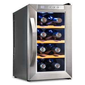Ivation IV-FWCT081WSS Premium Stainless Steel 8 Bottle Thermoelectric Wine Cooler/Chiller Counter Top Red & White Wine Cellar w/Digital Temperature, Freestanding Refrigerator Glass Door Quiet Operation Fridge