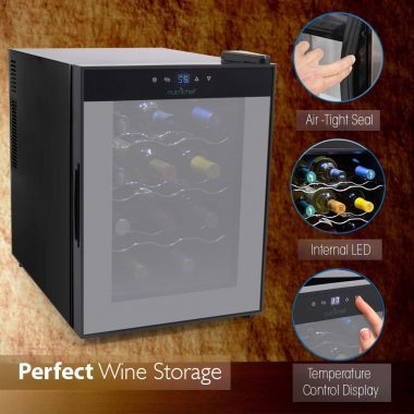 NutriChef PKTEWC122 - 12 Bottle Thermoelectric Wine Cellar