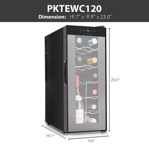 Nutrichef PKTEWC120 Thermoelectric 12 Bottle Wine Cooler Refrigerator   Red, White, Champagne Chiller   Counter Top Wine Cellar   Quiet Operation Fridge   Touch Temperature Control dim