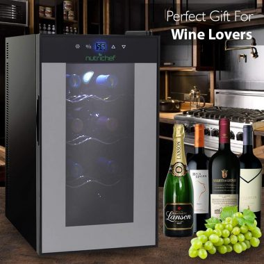 Nutrichef Thermoelectric 8 Bottle Wine Cooler Refrigerator | Red, White, Champagne Chiller vertical