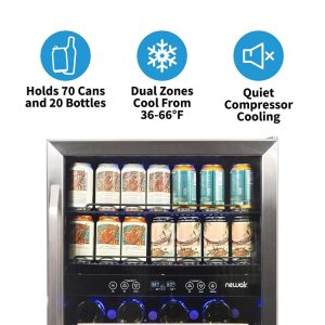 NewAir AWB-400DB Dual Zone Beverage Cooler Built-In Stainless Steel Refrigerator for Soda Beer or Wine Holds 22 Bottles and 70 Cans overall