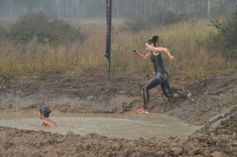 Running woman, obstacle races, tough mudder