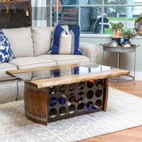 Wine Barrel Bottle Storage Coffee Table - Wine Country Accents