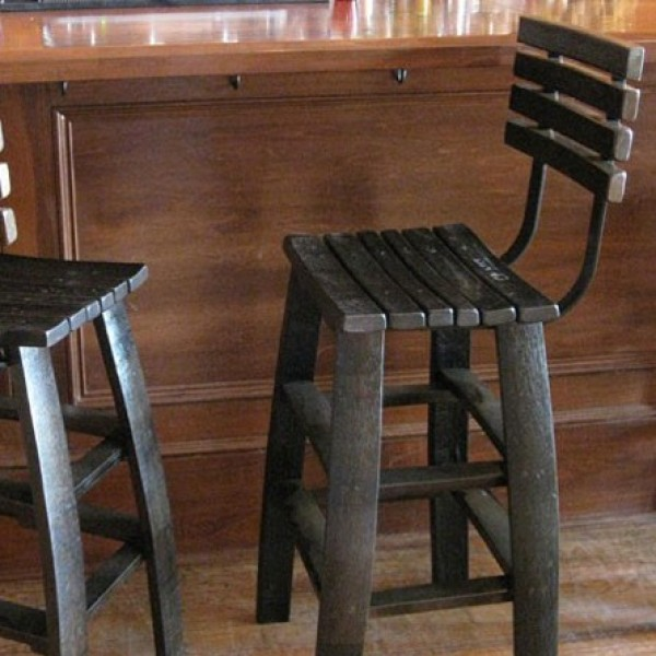 chair stools height theatre chairs wine stave backed bar - the oak barrel company country accents