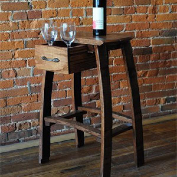 Barrel Head Wine Barrel Oak Bar Stools Table With Drawer  Oak Barrel Company