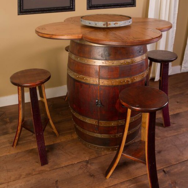 garden sofa and table sets brown leather nailhead wine barrel set napa east collection - country ...
