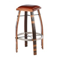 2-Day Designs Wine Barrel Bar Stools Tan or Chocolate ...