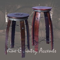 Daisy 2-Day Designs Wine Barrel Stave Bar Stool Swivel Top ...