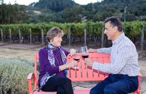 Janelle and Joe enjoying a glass of Napa Valley Cabernet Sauvignon