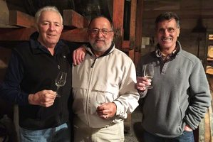 Barrel tasting with winemaker Mike Chelini - on the left.