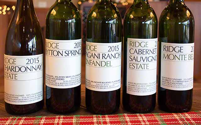 Ridge vineyards Monte Bello wine tasting