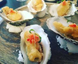 Deep fried oysters, pickled ginger & chilli, oyster cream