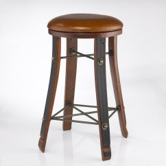 Leather Pub Chair Selig Z Vintage Oak Wine Barrel Round Bar Stool With Seat Enthusiast