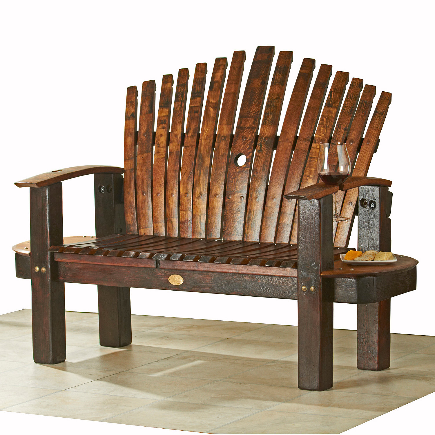 Reclaimed Wine Barrel Stave Love Seat Wine Enthusiast