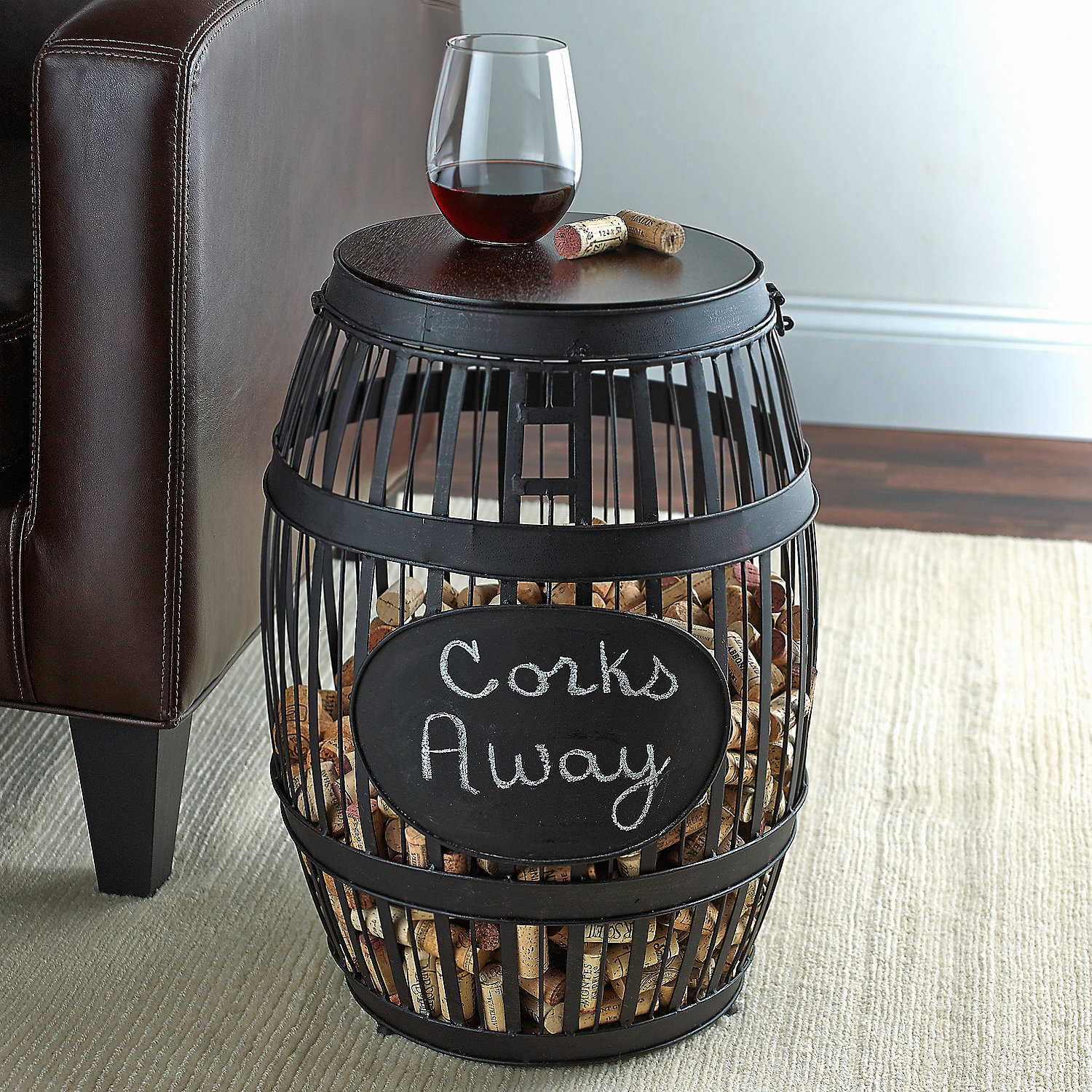 Barrel Cork Catcher Accent Table Wine Enthusiast