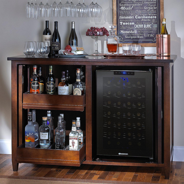 Siena Wine Credenza Nero With Wine RefrigeratorSiena