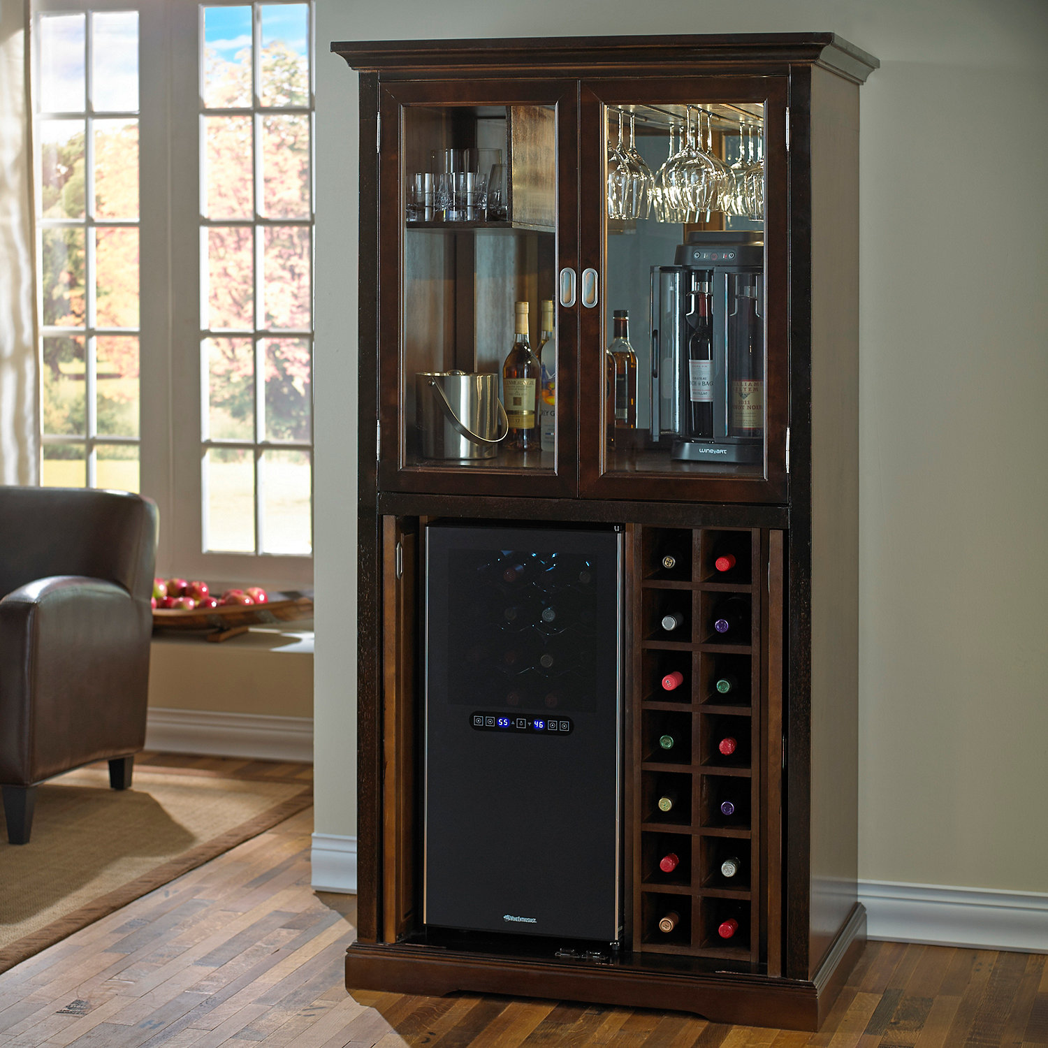 firenze wine and spirits armoire bar with 32 bottle touchscreen wine refrigerator wine enthusiast