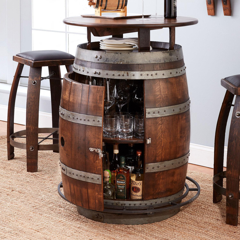 Vintage Oak Wine Barrel Bistro Table & Bar Stools Whiskey Finish