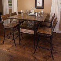 Vino Vintage Farm Style Pub Table with 6 Pub Chairs - Wine ...
